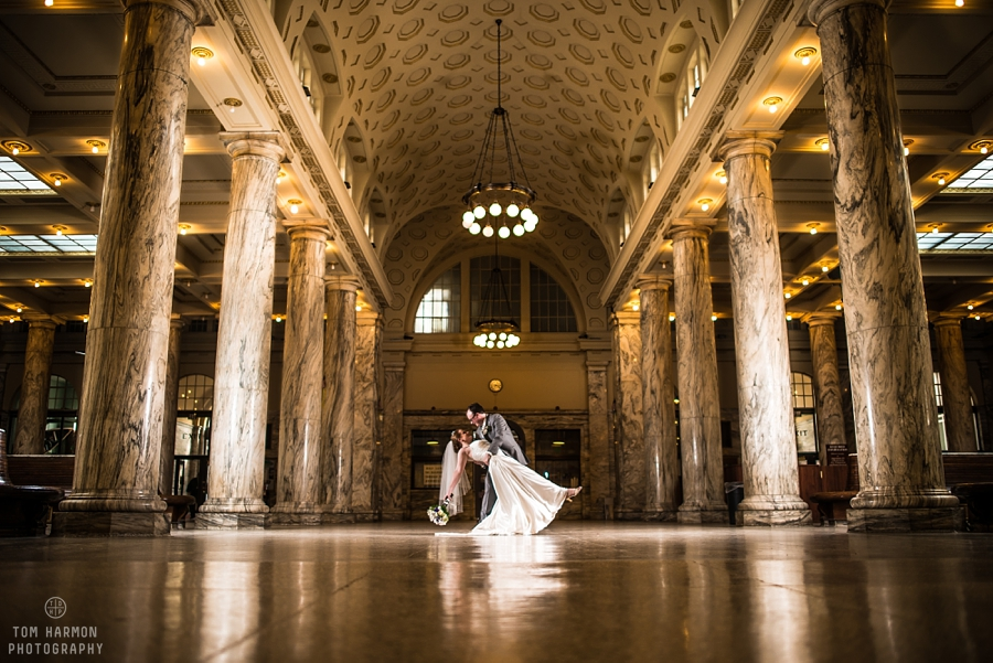 Wedding couple at Utica Train Station