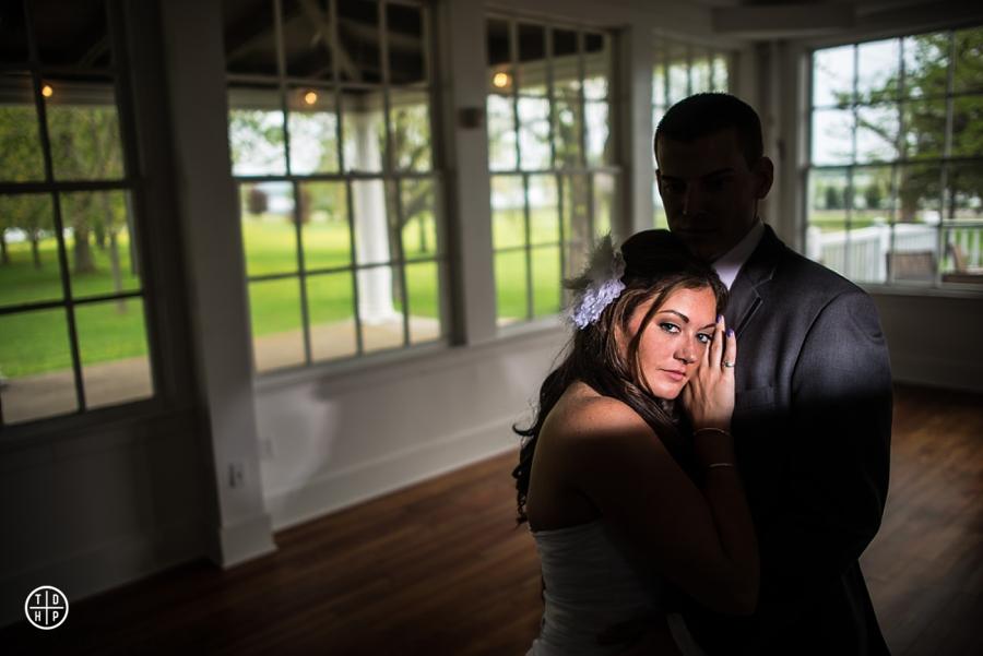 Bride and Groom inside Emerson Park Pavilion