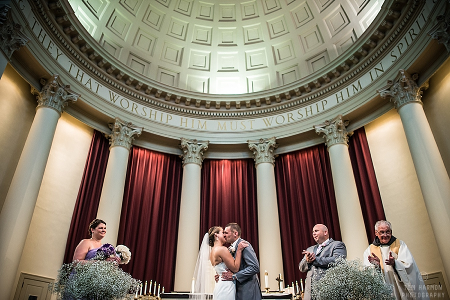 the kiss at the Hendricks chapel wedding