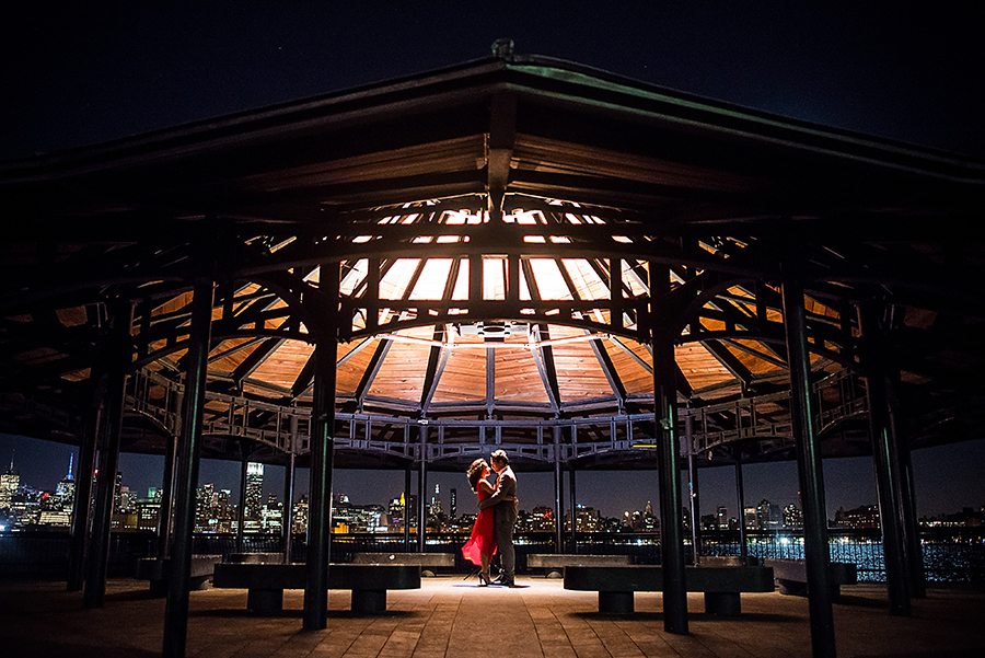 gazebo at hoboken park engagement