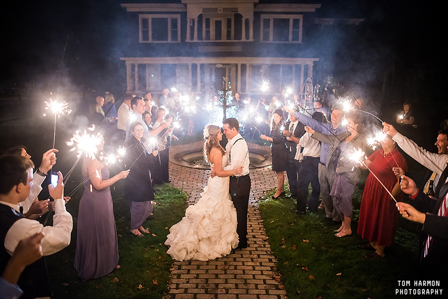 Sparklers at Sherwood Inn Wedding