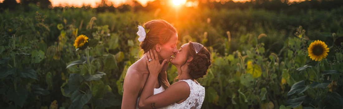 Heather and Amber's Historic Penn Farm Wedding Was Straight Fire. Because It Was Hot.
